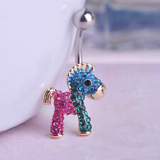 horse Navel Belly Bars dangle Body Piercing Belly Button crystal gold plated
