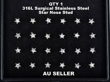 2mm Crystal Rhinestone 316L Surgical Stainless Steel Star Nose Stud Ring