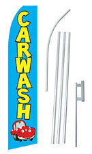 Car Wash Banner Flag Sign Display Complete Kit Tall Business Advertising 2.5Blue