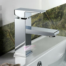 Luxury Square Solid Chrome Bathroom Faucet Vanity Basin Mixer Tap Single Lever