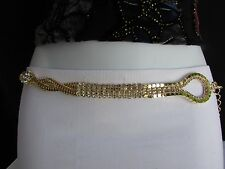 WOMEN HIP WAIST GOLD BRAIDED METAL FLOWER CHARM BLING CHAIN SKINNY BELT S M L