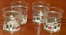 Pfaltzgraff Snow Village Plastic Cups With Floating Snowflakes RARE Set of 4