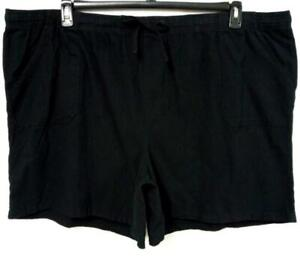 NWOT Basic editions black relaxed fit multi pocket pull on relaxed leg shorts 3X