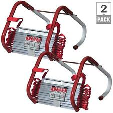 Fire Escape Ladder 2 Story Emergency Anti-Slip Safety Quick Release Steel 2 Pack