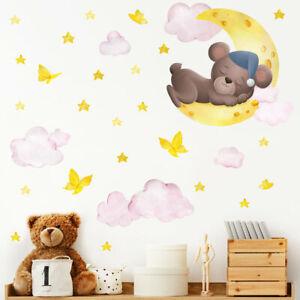 Cartoon Sleeping Bear Butterfly Moon Wall Sticker Baby Nursery Room Art Decal