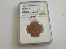 1881H Great Britain 1/2 P NGC MS 64 Red Brown