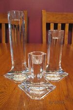 Set Of Three Lead Crystal CJR Riedel Prisma Candlesticks Candle Holders