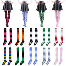 Damen Überknie Overknees Lang Socken Streifen Strümpfe Kniestrümpfe Stockings