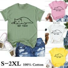 Women's Cute Cotton T-shirt Tops Short Sleeve Print Tee Shirts Plus Size 5XL