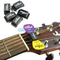 1 set 5pcs Alice Guitar Bass Pick Holder Black Rubber Pics Case On Headstock