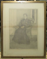 Belle Silveira Rare 1905 Portrait Drawing Listed Chicago Art Deco Artist