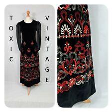 VINTAGE 70s BLACK RED GOLD EMBROIDERED VELVET MAXI DRESS. UK M RETRO CHIC GLAM