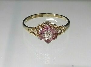 Vintage Genuine Ruby & Diamond Traditional Cluster Ring 9ct Yellow Gold Sz T
