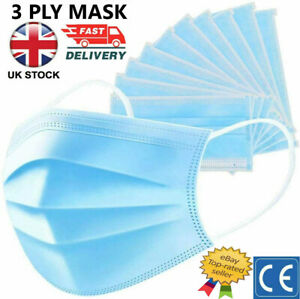 Disposable Protective Face Mask 3 Layer Breathable Surgical Medical Blue Masks