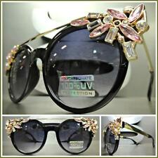 CLASSIC VINTAGE RETRO CAT EYE Style SUN GLASSES Black & Gold Frame Huge Crystals