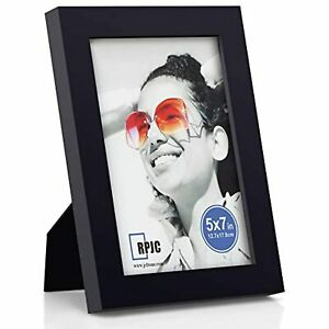 RPJC 5x7 Picture Frames Made of Solid Wood High Definition Glass, Black.