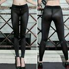 Women/Lady Sheer Shiny Zipper Open Crotch Leggings Silky Trousers Pants Clubwear