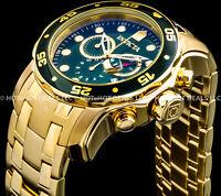 Invicta 48m Mens Pro Diver Scuba Chronograph 18k Gold Plated Bracelet 200M Watch