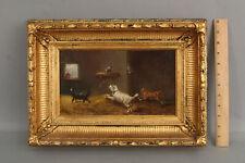 Antique Folk Art Oil Painting West Highland Norfolk Scottish Terrier Dogs & Cat