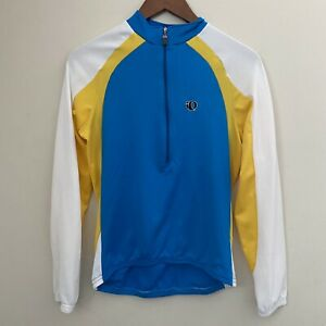 Pearl Izumi Women's M Blue White Yellow 1/2 Zip L/S Cycling Shirt Long Sleeve