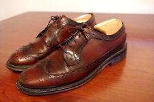 Vintage Custom British Walkers Brown Pebbled Leather Wingtip Oxford Shoes 9 D