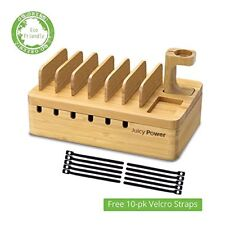 AVLT - Bamboo Multi Device (6-slot) Charging Organizer Station with Watch Stand