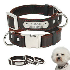 Free Engraving Personalized ID Tag Leather Dog Collar Custom Name Custom Collars