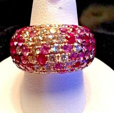 18k Rose Gold  Pave Diamond Ruby Pink Sapphire Dome Cocktail  Ring