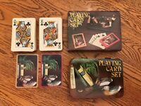 Vintage Crest Double Deck Mallard Duck Playing Cards 1983 Metal Case!