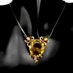 Handmade Oval Citrine 60ct Fire Opal Rhodolite 925 Sterling Silver Necklace 20in
