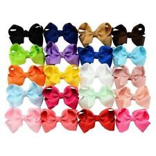 20 Pcs Girls Baby Kid Hair Bows Hairpin Alligator Princess Grosgrain Ribbon Clip