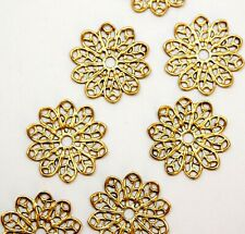 11 x Brass Ornate Flower Stamping Component Metal Findings Limited Edition DS232