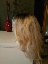 Blonde human hair wig real hair, hair blend, Ombre dark roots, lace front