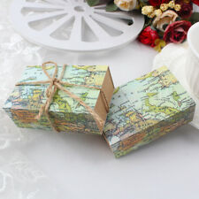 50pcs Kraft Paper Candy Gift Box Souvenirs for Guests World Map Wedding Gift Bag