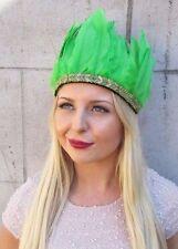 Gold Green Feather Headdress Native American War Bonnet Headband Red Indian 2588