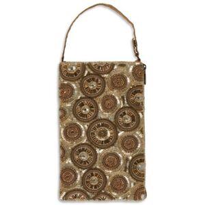 Gold Kaleidescope Beaded Club Bag Evening Clutch Purse w/ Shoulder Strap
