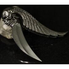 """7"""" SILVER BLADE SKULL WING DESIGN TACTICAL FOLDING POCKET KNIFE"""