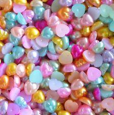 Lot 50 Pieces Demi Perles Coeur 6mm Mixte à coller, Decoration ongles, couture