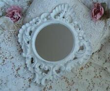 Ornate Round Wall Mirror Small Decor Chic Shabby Cottage White Heavy!