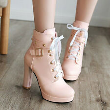 Fashion Ladies Ankle Boots Spikes Buckle Strap Lace up Booties Casual Shoes UK