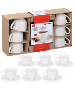 6 X ALPINA Espresso Cups Set Saucer White Gift Box Mugs 75ml Serving New