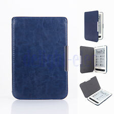 Dark Blue Faux Leather cover case for Pocketbook touch 624 626 DG