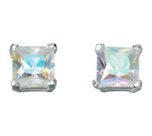 Essentials NEW! Sterling Silver Rainbow Cubic Zirconia Square Stud Earrings