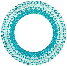 """Handcrafted Mosaic Decorative Round Wall Mirror 24"""", OffWhite and Sky Blue"""