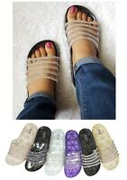 Womens Clear Glitter Slides Jelly Rhinestone Stripe Sandals Sparkly Slip-on Shoe