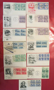 13 PC LOT 1952  PLATE BLOCK FIRST DAY COVERS CACHED UNADDRESSED