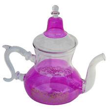 Moroccan Tea Kettle Coffee Pot Glass Handmade Heat Resistant Strainer Magenta