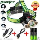 4Modes 9000Lm 3X XML T6+2R5 LED Headlamp Head Light Torch USB 18650+Car Charger