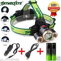 4Modes 9000Lm 3X XML T6+2R5 LED Headlamp Head Light Torch USB 18650+Car Charger