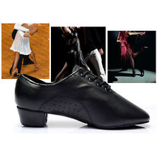 2016 New Black Soft PU Leather Mid Heel Boy Men Latin Waltz Ballroom Dance Shoes